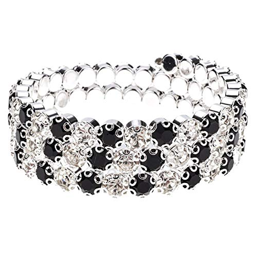 TILLY ANDERSON Fashion Silver Color Crystal Bracelets Bangles Wrap Multilayer Bracelet Cuff Wristband Jewelry for Women,A ()