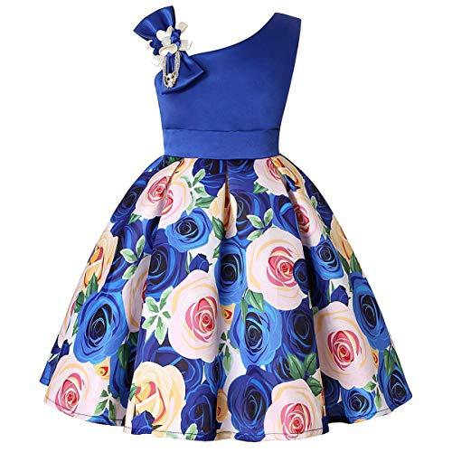 AIMJCHLD Elegant Flower Petal Girls Dress Children Kids Knee High Bowknot Striped Party Pageant Wedding Dresses Size 7-8T (Blue, 140)