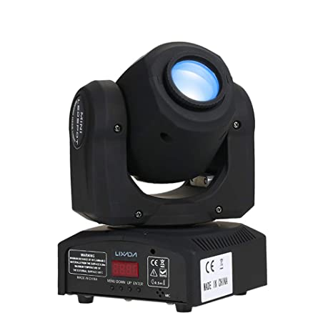 Lixada Moving Head Gobo Light 7 Gobo DMX Sound Control Auto Rotating 7 / 10  Channels Rainbow 7 Colors Changing LED Stage Gobo Pattern Lamp for Disco