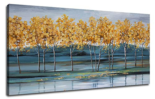 Ardemy Canvas Wall Art Gold Ginkgo Tree Nature Painting Prints, Modern Blue Landscape Mountain Scenery Picture Large Size One Panel 48