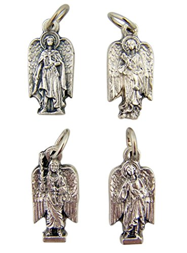Silver Tone Saint Medal Set the Four Archangels of God, 13/16 Inch