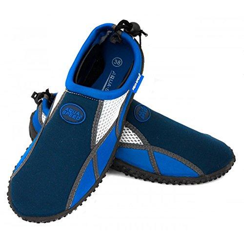 AQUA-SPEED Aquaschuh 17 A Wasserschuhe / Surfschuhe / Badeschuhe (navyblau/blau/weiß, 39)