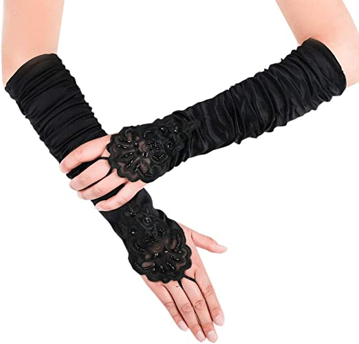 Choose color White Red Black Fingerless Satin Gloves with lace and sequins