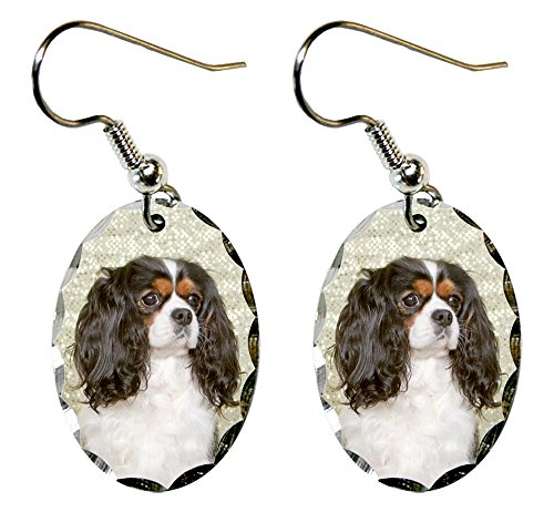 Canine Designs Cavalier King Charles Spaniel Scalloped Edge Oval Earrings
