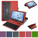 "Fire HD 10 Bluetooth Keyboard Case,Mama Mouth Coustom Design Slim Stand PU Leather Case Cover With Romovable Bluetooth Keyboard For 10.1"" Amazon Fire HD 10 Tablet 5th Generation 2015 release,Red"
