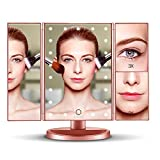 Spaire Vanity Makeup Mirror Trifold LED 3X/2X/1X Magnification with 21 Led Lights,Touch Screen 180° Adjustable Rotation,Dual Power Supply, Countertop Cosmetic Mirror