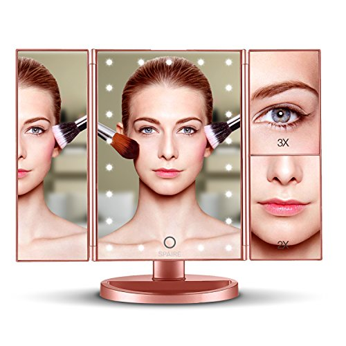 Spaire Vanity Makeup Mirror with Lights 3X/2X/1X Magnification, Trifold Travel Mirror, 180° Adjustable, Dual Power Supply, Lighted Cosmetic Mirror -