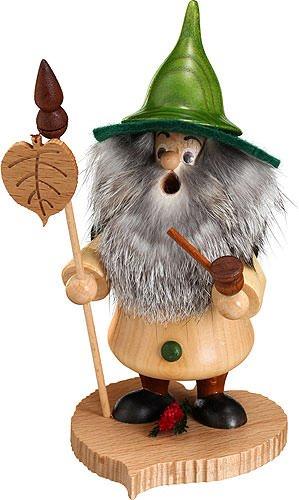 German Incense Smoker Tree Gnome, Linden leaf - 18cm / 7inch - Drechselwerkstatt Uhlig (German Incense Smoker)