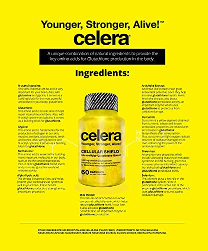 51gxGhmkk L - Celera Cellular Shield Glutathione Boost Capsules; Younger, Stronger, Alive!; Antiaging, Antioxidant, Skin Health, Sports, Hangover & Liver Protection, Detox; for Men & Women.
