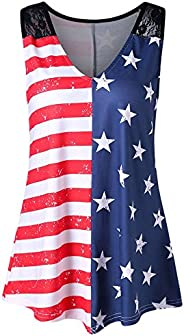 WUAI Racerback American Flag Tank Tops Sleeveless V-Neck Patriotic Shirt 4th of July Summer Vests Tops