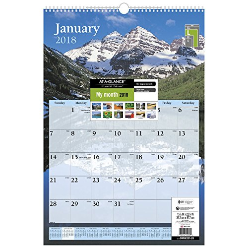 "AT-A-GLANCE Wall Calendar, January 2018 - December 2018, 15-1/2"" x 22-3/4"", Scenic (DMW20128)"