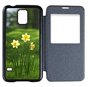Galaxy S5 Case,Popular Convenient Answer Incoming Calls View Time Table Talk Caller Id Window Daffodils Flowers Pattern Flip Case Cover