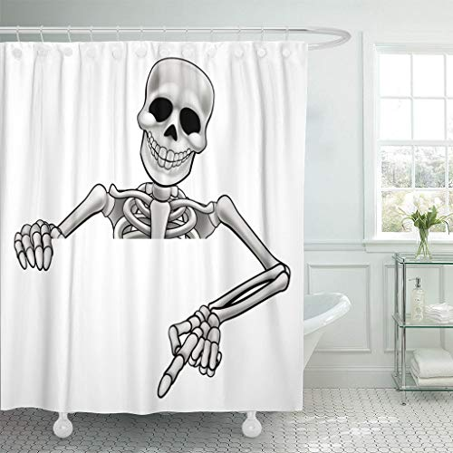 (Emvency Fabric Shower Curtain with Hooks Hand Skeleton Halloween Cartoon Character Peeking Over Sign and Pointing Grim Hallowen 60