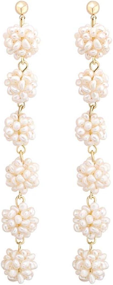 Pendientes con forma de frambuesa, perlas naturales, aleación chapada, pendientes de plata S925, pendientes de mujer