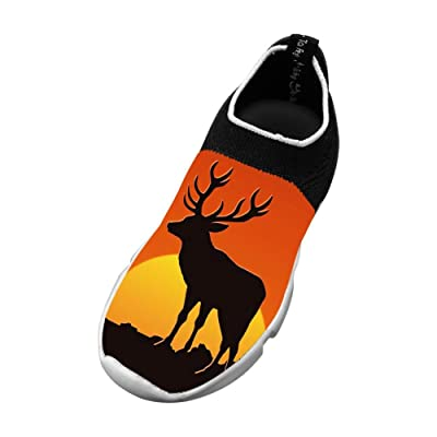 Deer Silhouette Flyknit Shoes Light Sports Fashion Running Shoes For Kids