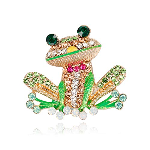 T-PERFECT LIFE Cute Christmas Elk Pearl Brooches for Women, Gold-Plated and Silver-Plated Christmas Deer Crystal Brooch, Lucky Reindeer Pin (Colorful Frog) - Gold Frog Plated Brooch
