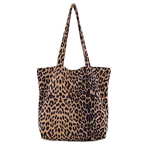(Women's Leopard Tote Casual Travel Shopping Shoulder Bag Handbag College Pack for Lady Girls (Large))
