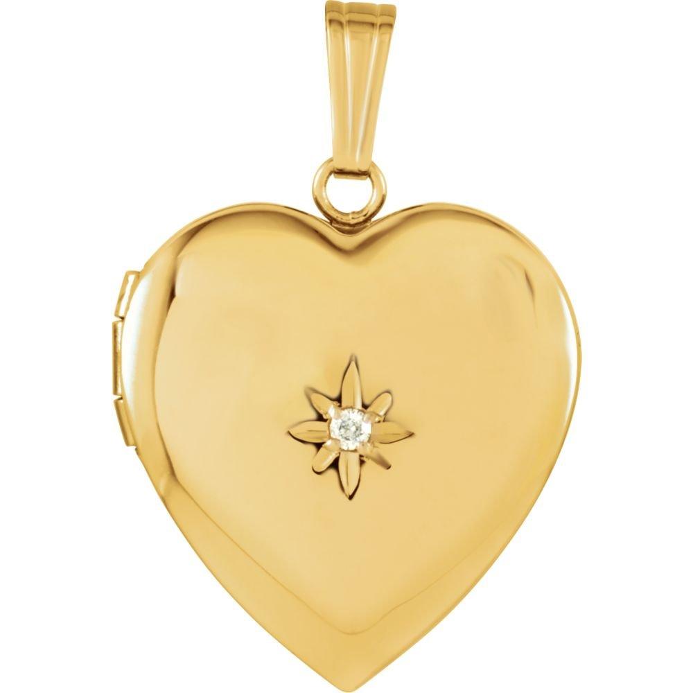 14ct Or jaune 19.5x 18.4mm poli Diamant Médaillon cœur JewelryWeb