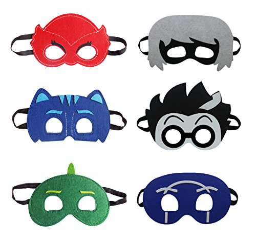 Keklle Cartoon Hero PJ Masks Party Supplies Dress Up Costumes Set of 6 Masks For Kids