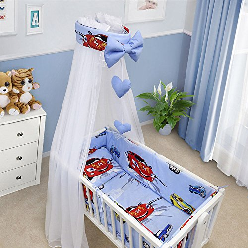 BABY BEDDING SET CRIB CRADLE 10 Pieces PILLOW DUVET COVER BUMPER CANOPY to fit Crib 90x40cm 100% COTTON (Window Cream) TheLittles24