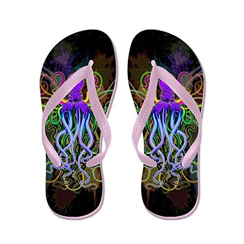 Cafepress Octopus Psychedelic Luminescence - Flip Flops, Grappige String Sandalen, Strand Sandalen Roze