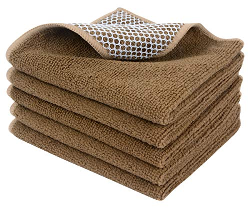 Sinland Microfiber Dish Cloths Best Kitchen Cloths Cleaning Cloths Poly Scour Side 12Inchx12Inch 5 Pack, light brown