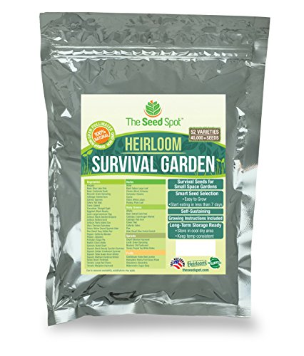 Heirloom Survival Garden Survival Seeds Set | 40,000 Non-GMO Seeds Kit | 52 Varieties Of Heritage Seeds | Fast Germination Rate & Yield | 100% Naturally Grown In The (Garden Seed Kit)