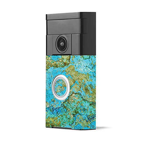 MightySkins Skin for Ring Video Doorbell - Teal Marble | Protective, Durable, and Unique Vinyl Decal wrap Cover | Easy to Apply, Remove, and Change Styles | Made in The USA
