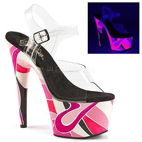 Pleaser Women's Synthetic Adore Sandal 10 B(M) US Clr/Pink Multi qz9g2qK