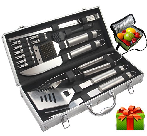 ROMANTICIST BBQ Tools Set - 19PCS BBQ Grill Tools Set - Heavy Duty Stainless Steel Barbecue Grilling Utensils in Aluminum Storage Case - Premium Grilling Accessories for Barbecue (Best Valentines Gift For A Man)