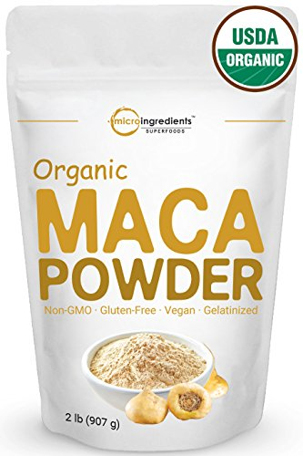 Peruvian Organic Maca Powder, 32 Ounce, Gelatinized for Powerful Bio-Availability, Libido and Energy Booster. Non-Irradiated, Non-Contaminated, Non-GMO and Vegan Friendly. by Micro Ingredients