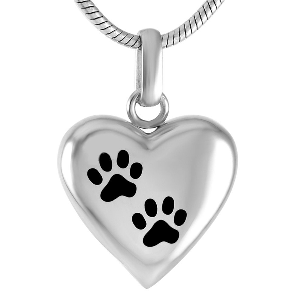 Double Dog Paw print In My Heart Memorial Urn Necklace Ashes Holder Pet Cremation Pendants