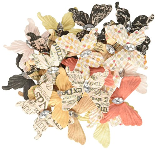 Prima Marketing Lyric Paper Butterflies with Gem, 1.25-Inch to 1.5-Inch 24-Pack-