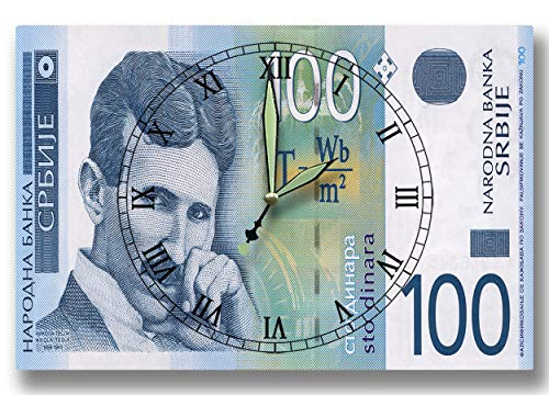 Money Clocks Nikola Tesla Bank of Serbia Series 2003 100 Serbian Dinar 8 x 12 inch Wall Clock Electrical Engineer (Science Education In The Early Roman Empire)