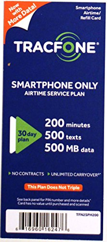 TracFone ''Smartphone Only Plan'' - 30 Days / 200 Minutes / 500 Text / 200MB Data by Tracfone