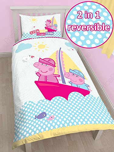 (Peppa Pig Nautical Single/US Twin Panel Duvet Cover + Peppa Pig Small Reward Stickers)