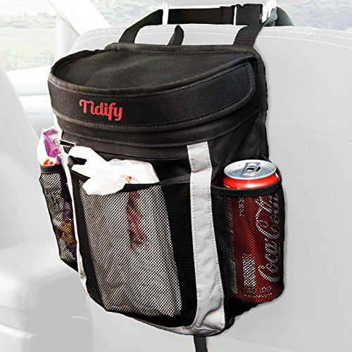 Car Trash Bag | 100% Leak Proof Garbage Can / Litter Bag / Seat Organizer to Keep Your Car Clean and Tidy | 25 Disposable Trash Liners | Large Flip Up Lid to prevent Bad Odors