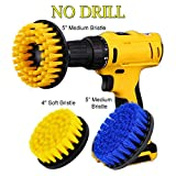 HIFROM 4'' Soft and 5'' Medium Power Scrubbing Brush Drill Attachment Kit for Cleaning Showers Tubs Bathrooms Tile Grout Carpet Tires Boats Upholstery (Pack of 3)
