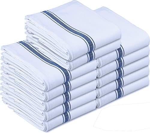 Kitchen Towels Dish Cloth (12 Pack) Machine Washable Cotton White Kitchen Dishcloths Towel Tea Towels (15 x 25 Inch) by Utopia Towels