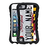 BleuReign(TM) Personalized Custom Name 2017 Maryland State License Plate 2-Piece Dual Layer Phone Case Back Cover for Apple iPod Touch 5th Generation