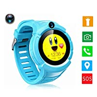 JUNEO GPS Smart Watch Tracker Kids/Elderly with Anti-Lost, Pedometer,SOS,Dual Way Call with SIM Card Slot Remote Monitor Watches for Samsung,Android,iPhone from USA(Without SIM Card (Blue) from JUNEO