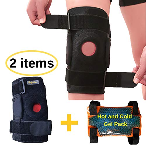 BodyMoves Kid's Hinged Knee Brace Support Plus Hot and Cold Ice Pack (Sporty Black)