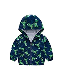 CieKen Boys' Dinosaur Windbreaker Jacket with Mesh Lined