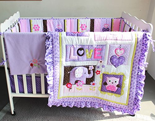 NAUGHTYBOSS Girl Baby Bedding Set Cotton 3D Embroidery Elephant Owl Quilt Bumper Bedskirt Fitted Blanket 8 Pieces Set Purple Color by NAUGHTYBOSS