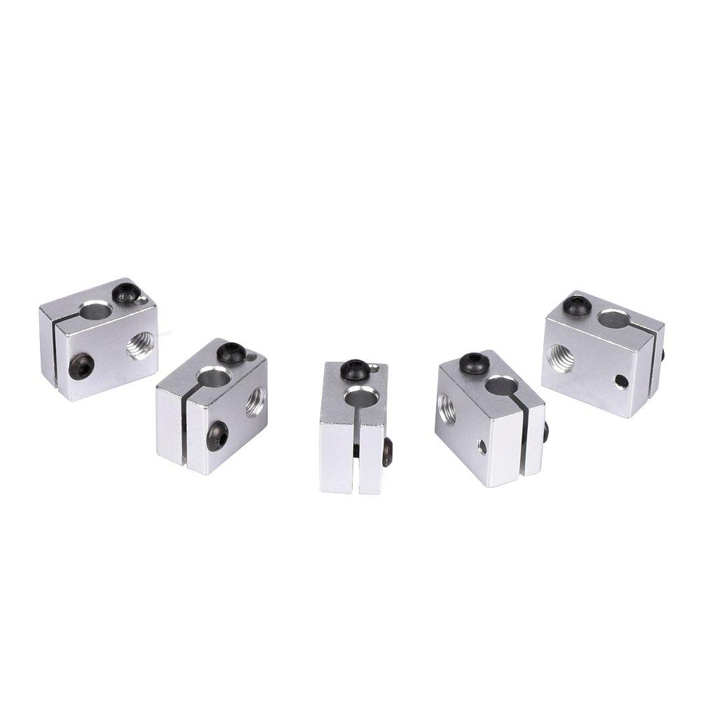 KINGPRINT Aluminum Heat Block for 3D V6 J Head 3D Printer Specialized for MK7 MK8 3D Printer Extruder (Pack of 5pcs)