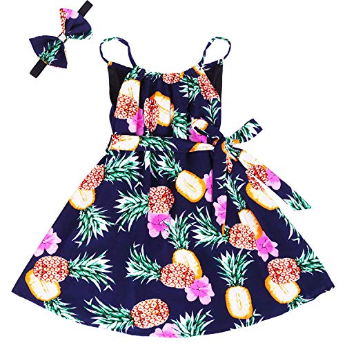 - Girls Floral Ruffle Dress Kids Cold Shoulder Flutter Maxi Dress Party Summer Girl Clothes Sleeveless Boho Sundress Toddlers Beach Long Dress Pineapple Navy 05 9-10 Years