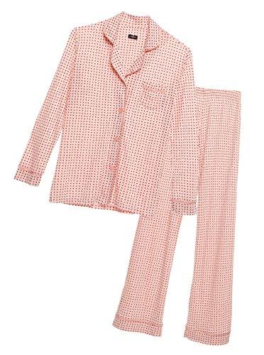 Cosabella Women's Bella Long-Sleeve Top and Pant Pajama Set, Medium, Square Pink...