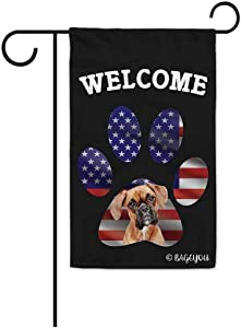 BAGEYOU Bless to United State with My Love Dog Boxer Welcome Decorative Garden Flag Cute Puppy Paw American Flag Patriotic Home Decor Banner for Outside 12.5X18 Inch Printed Double Sided