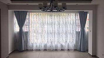 150 x 220 cm CYSTYLE Neue 1er Blaue Stickerei Bl/ätter Schal Garn Vorhang Dekosachl Transparent Gardinen,Vorhang Voile Fensterschal Dekoschal f/ür Wohnzimmer Kinderzimmer Schlafzimmer