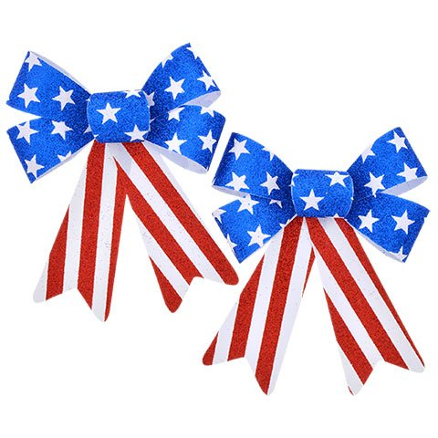 Hobeez Patriotic Red, White and Blue Stars and Stripes Set of Bows (1 Large, 2 Small) by Hobeez (Image #2)